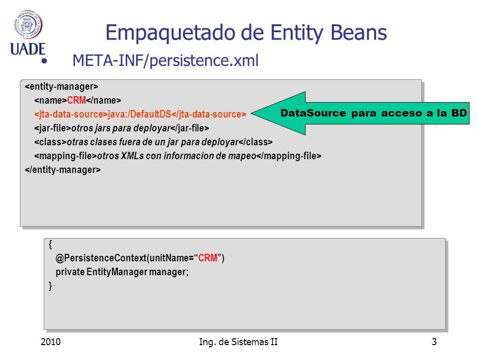 2010Ing. de Sistemas II3 Empaquetado de Entity Beans CRM java:/DefaultDS otros jars para deployar otras clases fuera de un jar para deployar otros XML