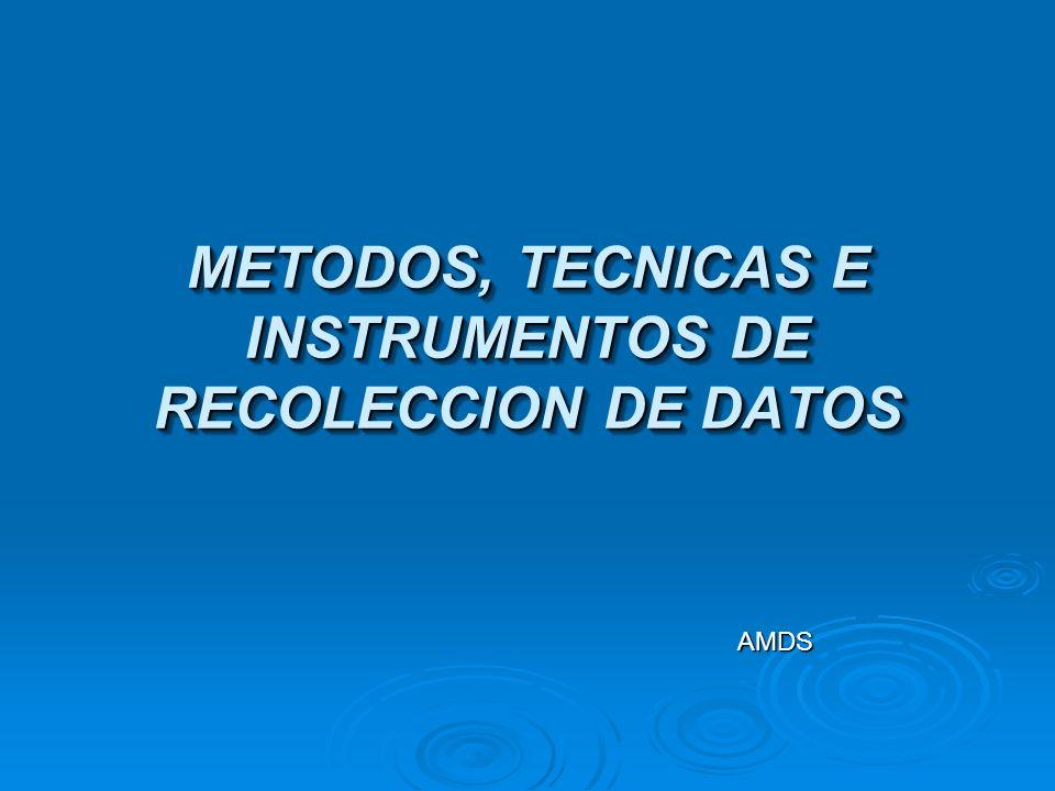 METODOS DE RECOLECCION DE DATOS El método representa la estrategia concreta e integral de trabajo para el análisis de un problema o cuestión coherente con la definición teórica del mismo y con los objetivos de la investigación.