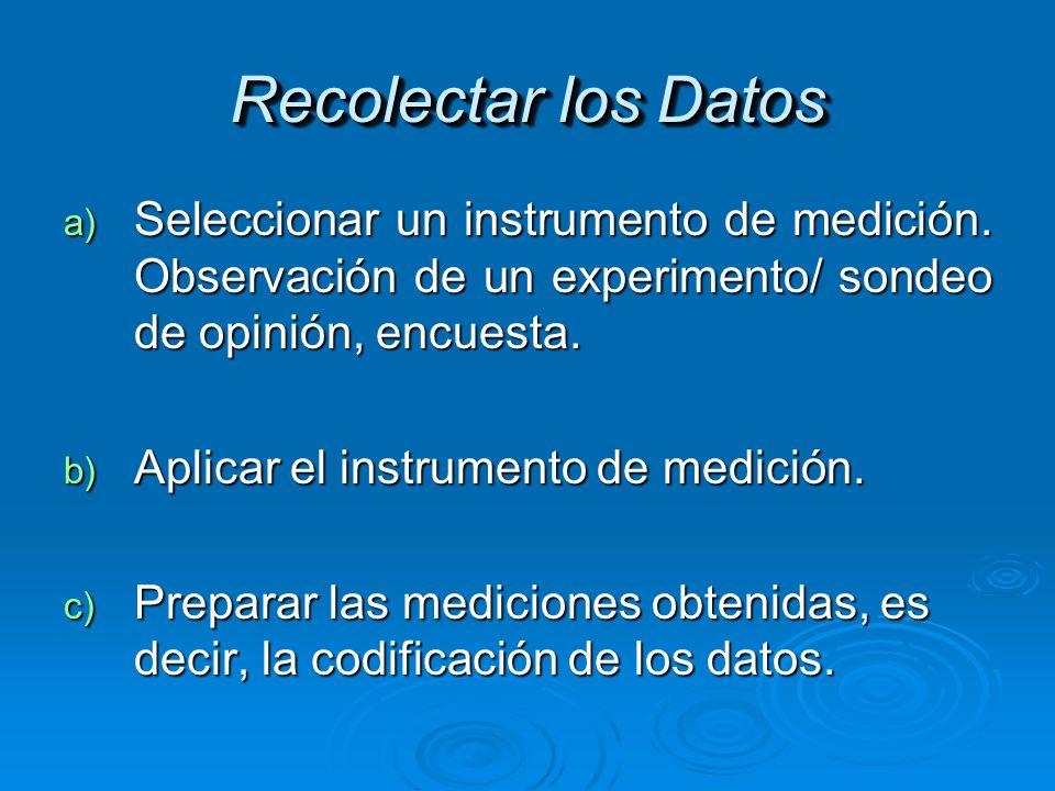 Recolectar los Datos a) Seleccionar un instrumento de medición. Observación de un experimento/ sondeo de opinión, encuesta. b) Aplicar el instrumento