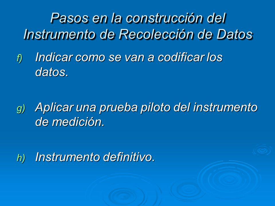 f) Indicar como se van a codificar los datos. g) Aplicar una prueba piloto del instrumento de medición. h) Instrumento definitivo. Pasos en la constru