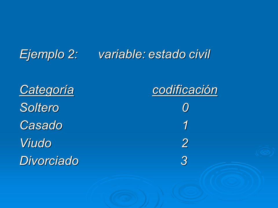 Ejemplo 2: variable: estado civil Categoría codificación Soltero 0 Casado 1 Viudo 2 Divorciado 3
