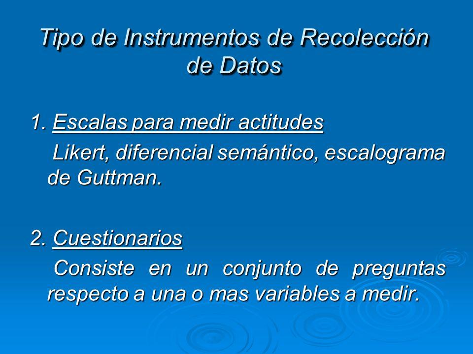 Tipo de Instrumentos de Recolección de Datos 1. Escalas para medir actitudes Likert, diferencial semántico, escalograma de Guttman. Likert, diferencia