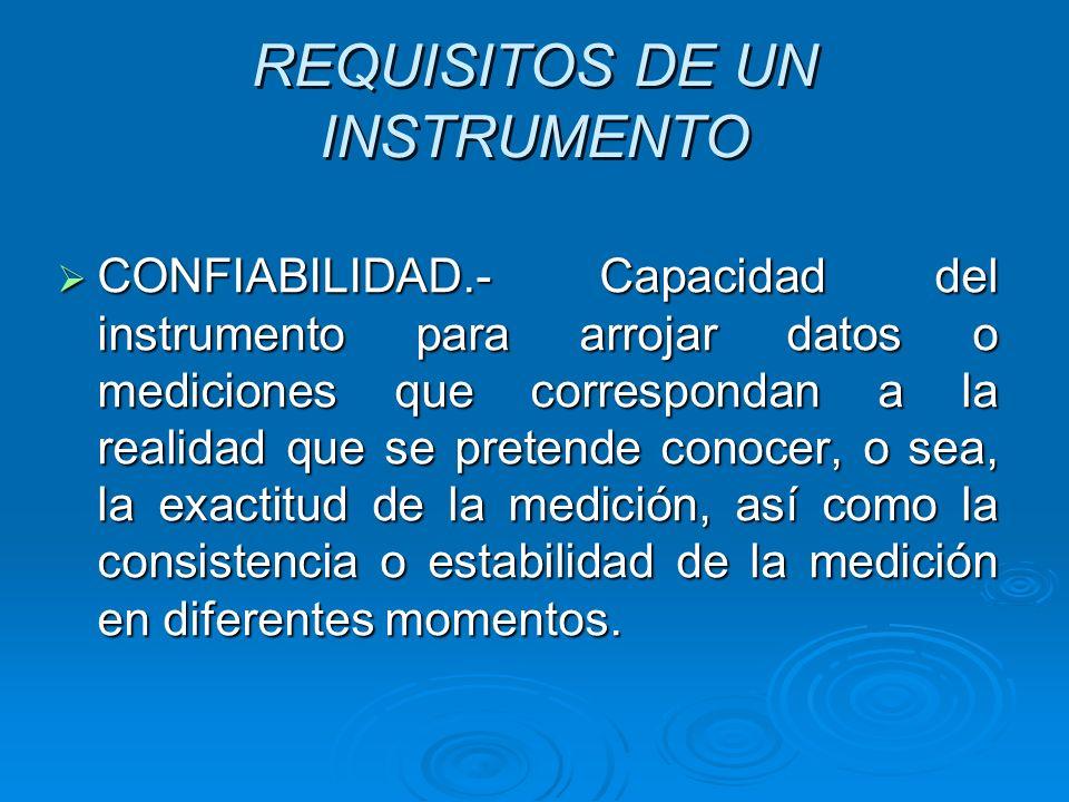 REQUISITOS DE UN INSTRUMENTO CONFIABILIDAD.- Capacidad del instrumento para arrojar datos o mediciones que correspondan a la realidad que se pretende