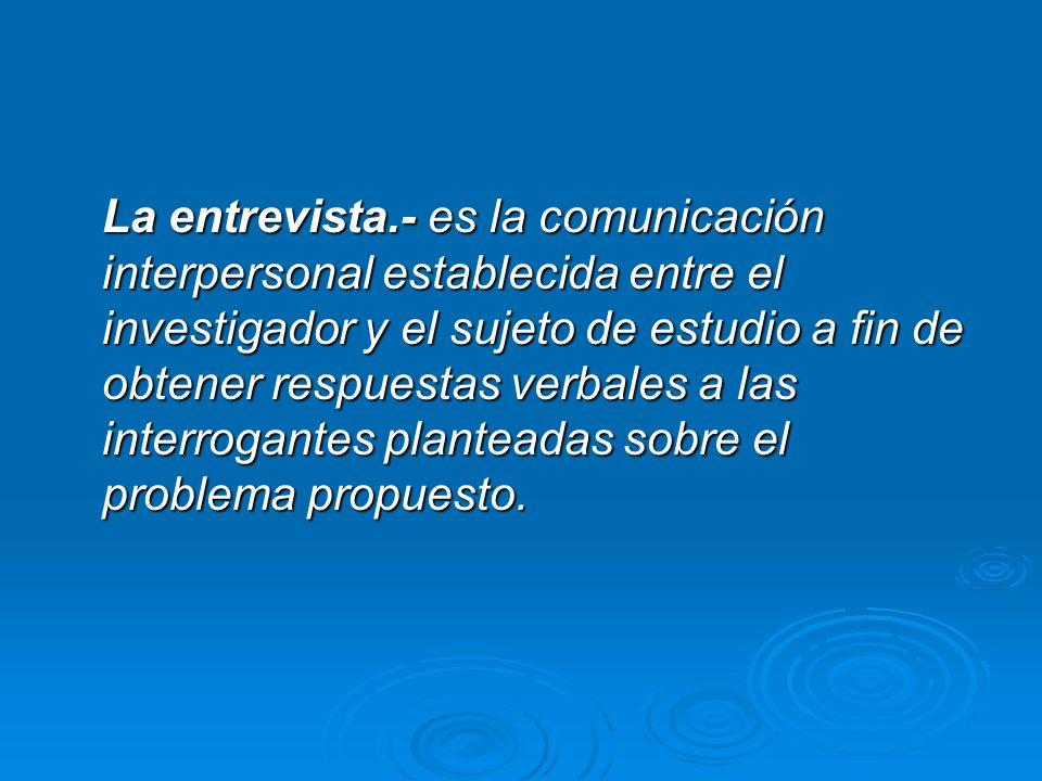 La entrevista.- es la comunicación interpersonal establecida entre el investigador y el sujeto de estudio a fin de obtener respuestas verbales a las i