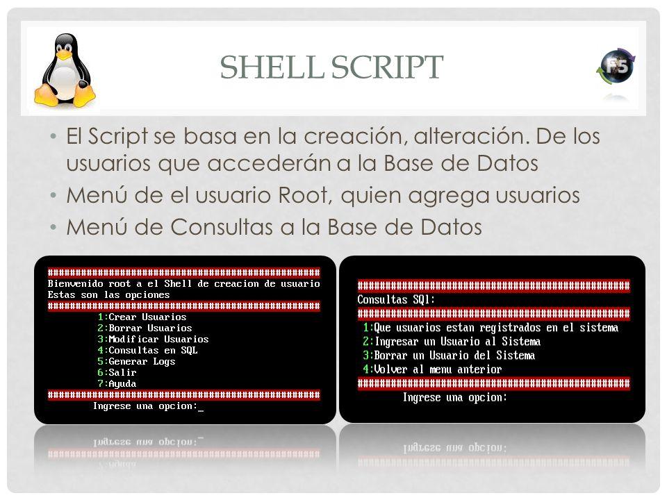 SHELL SCRIPT El Script se basa en la creación, alteración. De los usuarios que accederán a la Base de Datos Menú de el usuario Root, quien agrega usua
