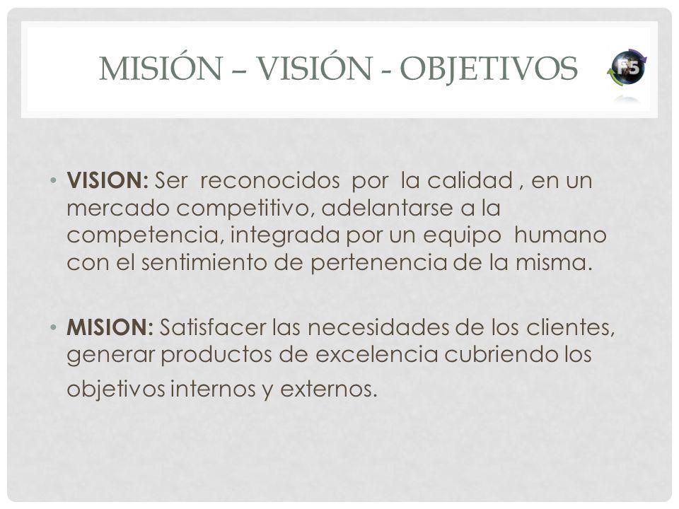 MISIÓN – VISIÓN - OBJETIVOS VISION: Ser reconocidos por la calidad, en un mercado competitivo, adelantarse a la competencia, integrada por un equipo h