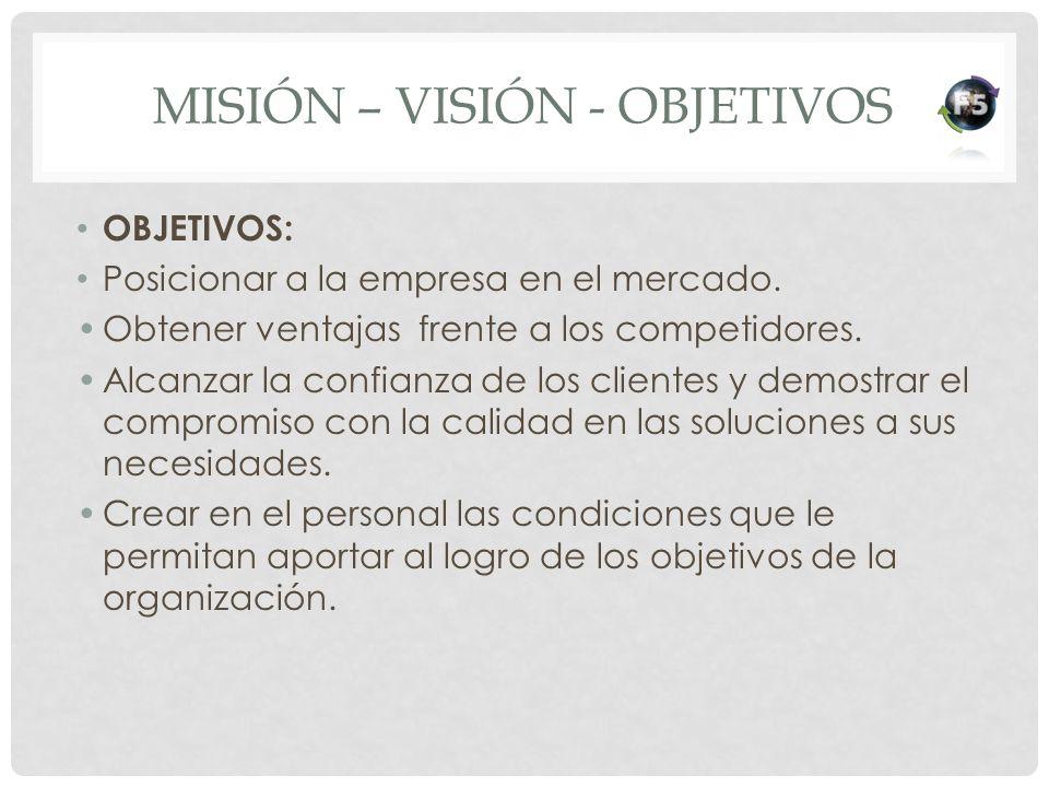 OBJETIVOS: Posicionar a la empresa en el mercado. Obtener ventajas frente a los competidores. Alcanzar la confianza de los clientes y demostrar el com