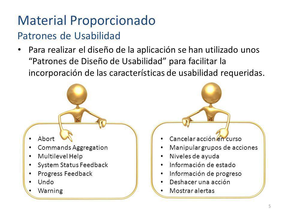 Material Proporcionado Patrones de Usabilidad Para realizar el diseño de la aplicación se han utilizado unos Patrones de Diseño de Usabilidad para fac
