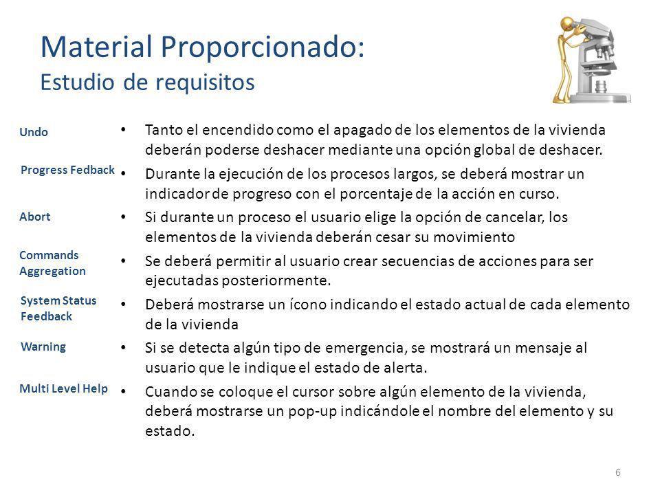 Material Proporcionado: Estudio de requisitos Tanto el encendido como el apagado de los elementos de la vivienda deberán poderse deshacer mediante una