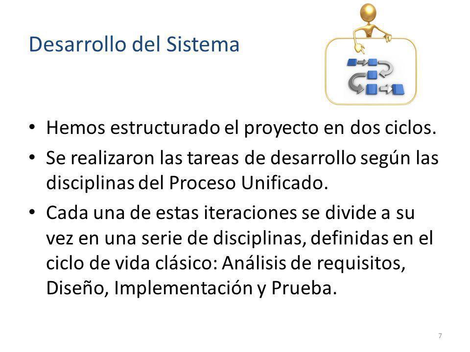 Desarrollo del Sistema Hemos estructurado el proyecto en dos ciclos. Se realizaron las tareas de desarrollo según las disciplinas del Proceso Unificad