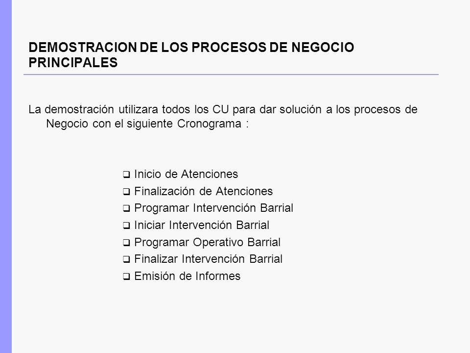 DEMOSTRACION DE LOS PROCESOS DE NEGOCIO PRINCIPALES La demostración utilizara todos los CU para dar solución a los procesos de Negocio con el siguient