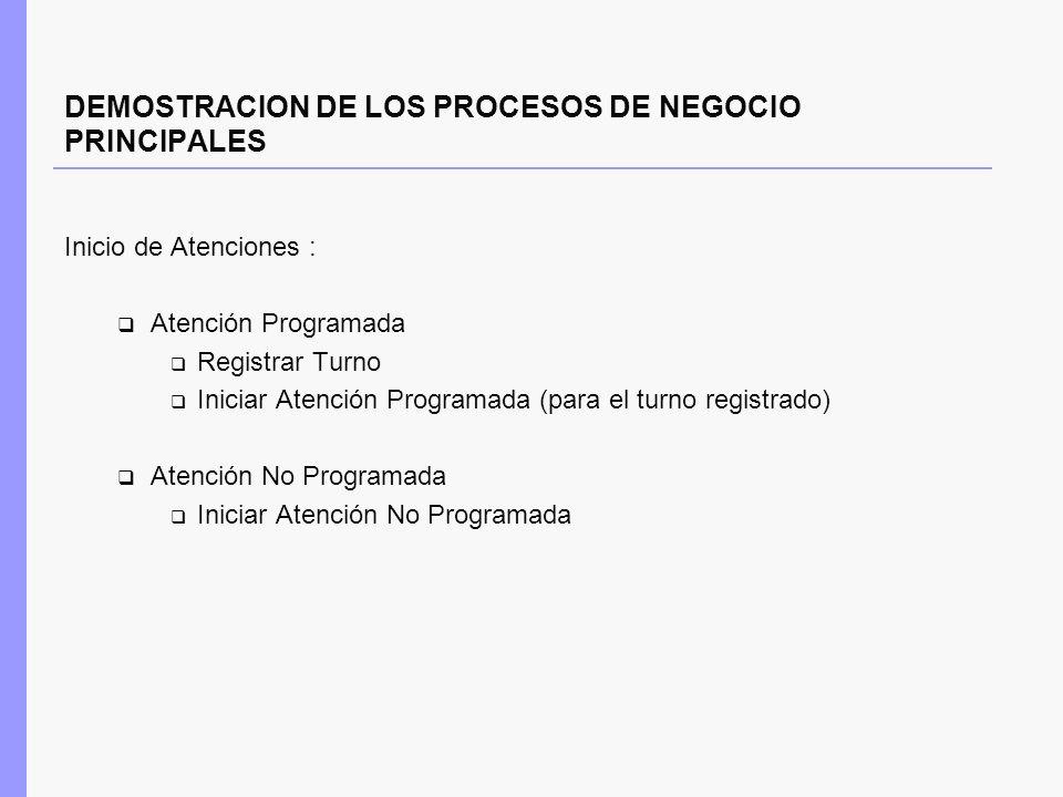 DEMOSTRACION DE LOS PROCESOS DE NEGOCIO PRINCIPALES Inicio de Atenciones : Atención Programada Registrar Turno Iniciar Atención Programada (para el tu