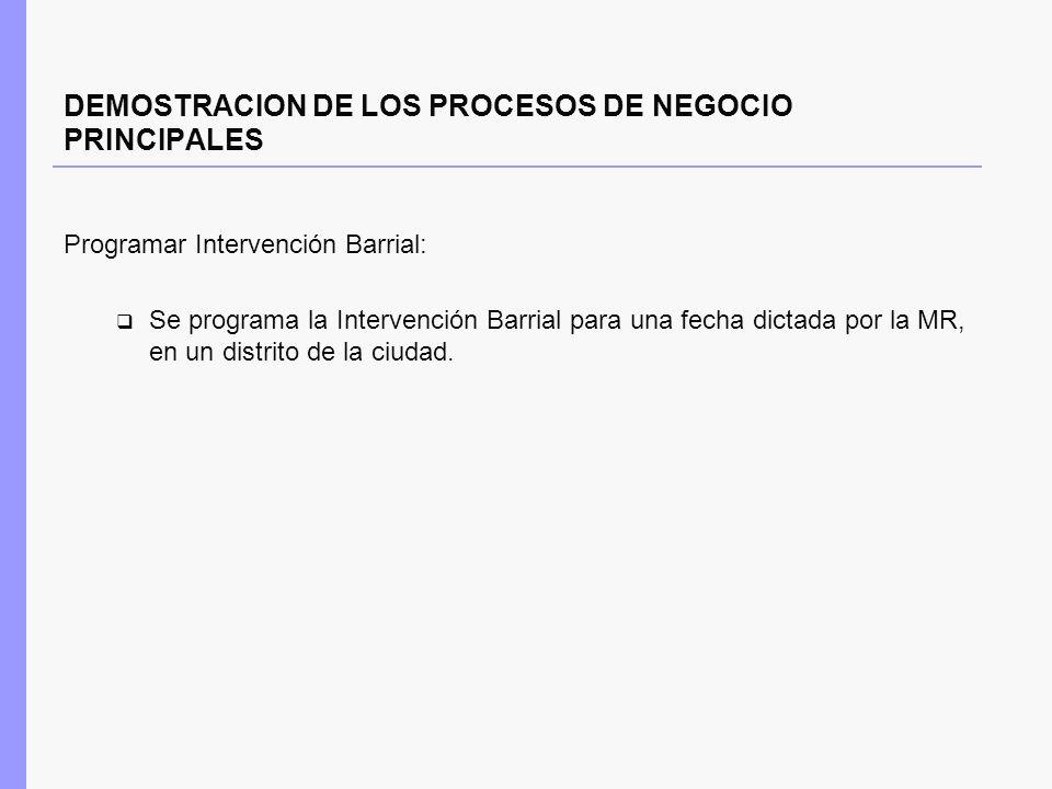 DEMOSTRACION DE LOS PROCESOS DE NEGOCIO PRINCIPALES Programar Intervención Barrial: Se programa la Intervención Barrial para una fecha dictada por la