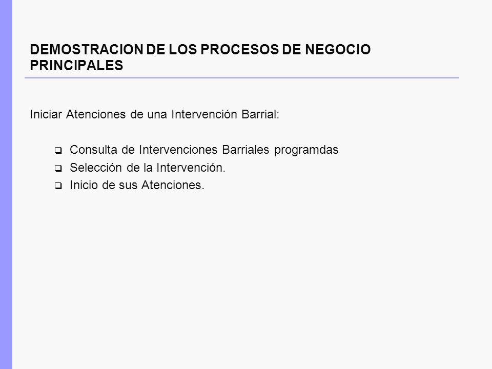 DEMOSTRACION DE LOS PROCESOS DE NEGOCIO PRINCIPALES Iniciar Atenciones de una Intervención Barrial: Consulta de Intervenciones Barriales programdas Se