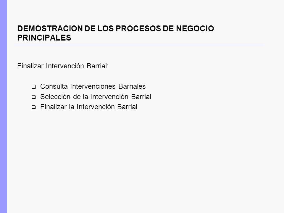 DEMOSTRACION DE LOS PROCESOS DE NEGOCIO PRINCIPALES Finalizar Intervención Barrial: Consulta Intervenciones Barriales Selección de la Intervención Bar