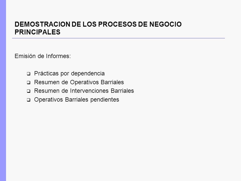 DEMOSTRACION DE LOS PROCESOS DE NEGOCIO PRINCIPALES Emisión de Informes: Prácticas por dependencia Resumen de Operativos Barriales Resumen de Interven