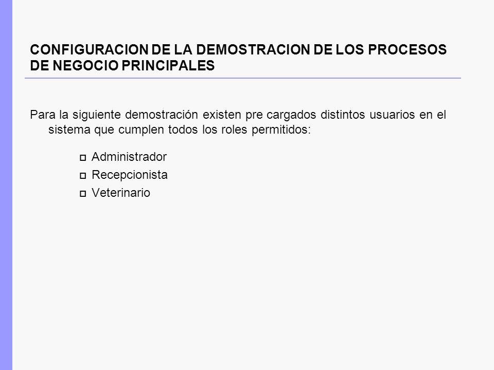 CONFIGURACION DE LA DEMOSTRACION DE LOS PROCESOS DE NEGOCIO PRINCIPALES Para la siguiente demostración existen pre cargados distintos usuarios en el s