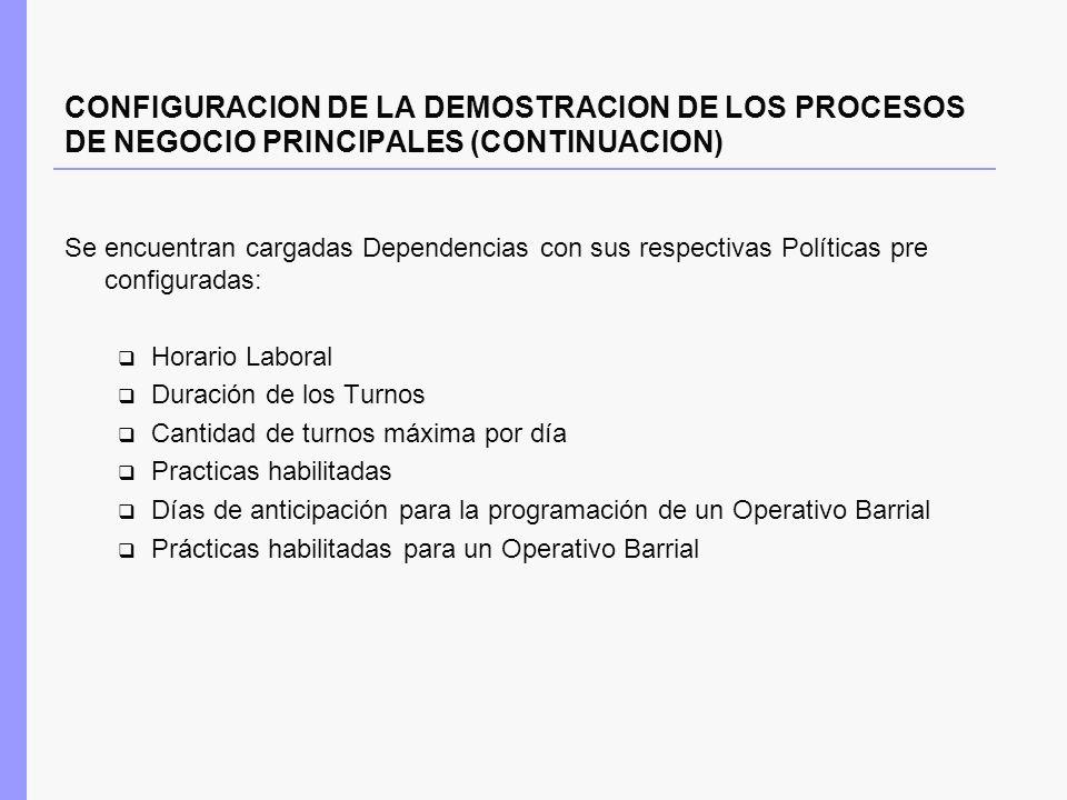 CONFIGURACION DE LA DEMOSTRACION DE LOS PROCESOS DE NEGOCIO PRINCIPALES (CONTINUACION) Se encuentran cargadas Dependencias con sus respectivas Polític