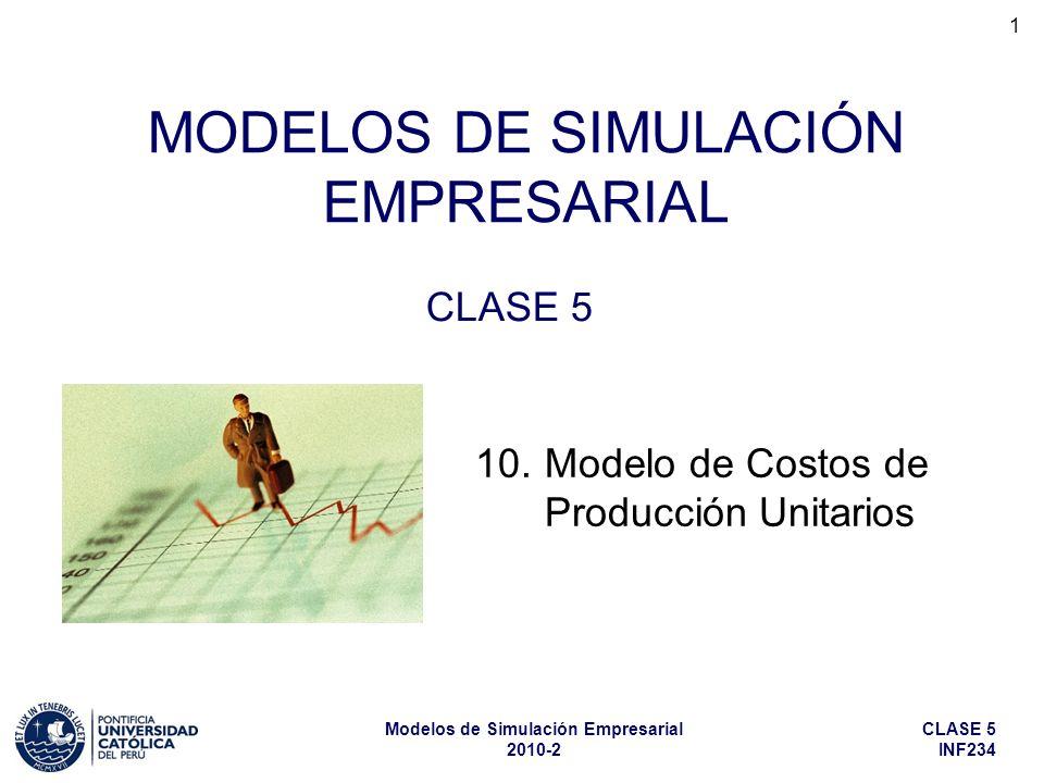 CLASE 5 INF234 Modelos de Simulación Empresarial 2010-2 32 Por ello, en el modelo simplificado de costos unitarios conviene construir un catálogo (o lista) de componentes, en el cual figuren sus características, incluyendo sus % de merma y sus precios actuales, de manera que para modelar cada producto sólo haga falta indicarle al modelo cuáles son los componentes que lo conforman, y en qué cantidad intervienen en su producción (de acuerdo con la fórmula teórica).