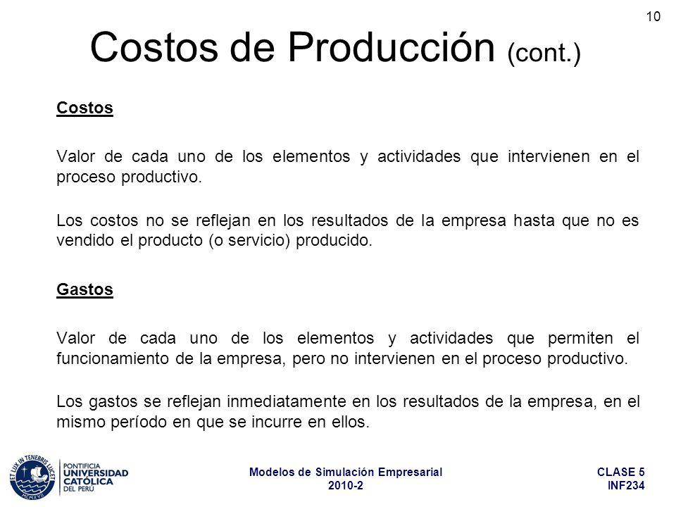 CLASE 5 INF234 Modelos de Simulación Empresarial 2010-2 10 Costos Valor de cada uno de los elementos y actividades que intervienen en el proceso produ