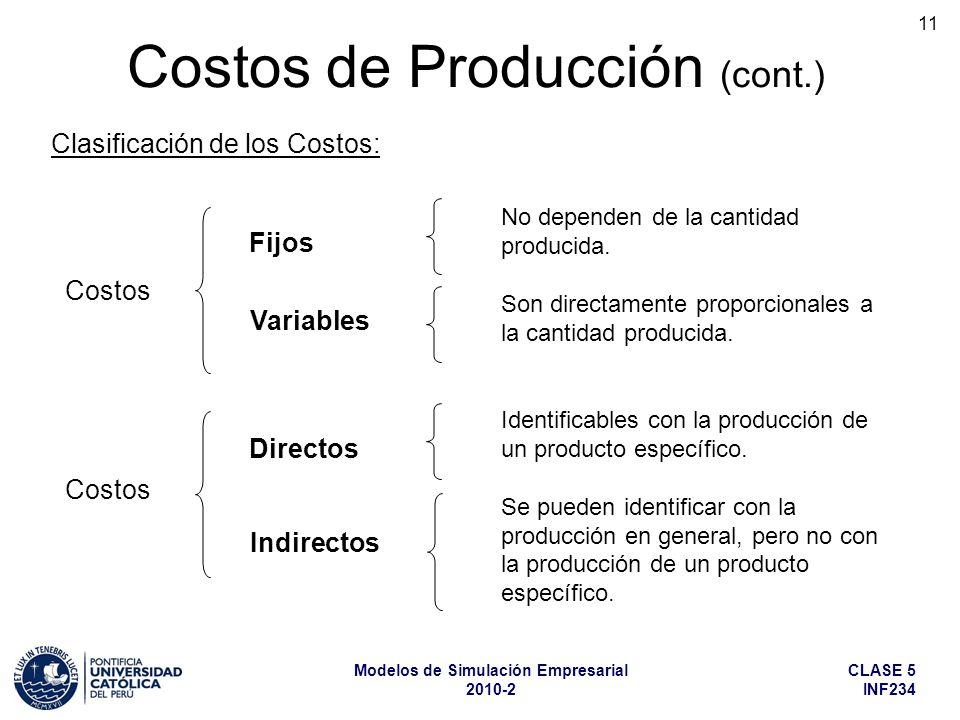 CLASE 5 INF234 Modelos de Simulación Empresarial 2010-2 11 Identificables con la producción de un producto específico. Se pueden identificar con la pr