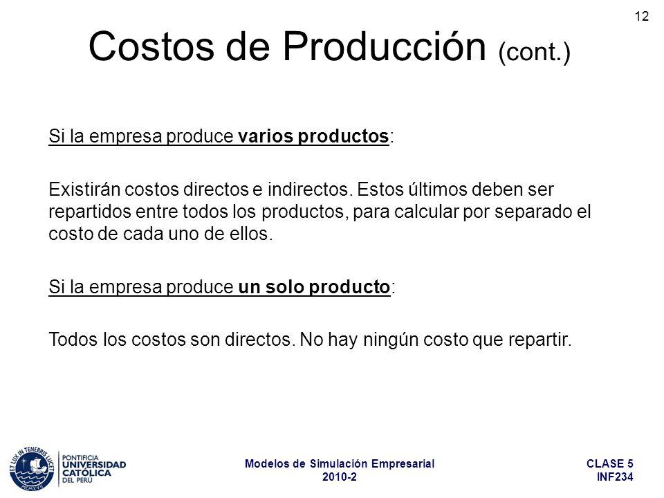 CLASE 5 INF234 Modelos de Simulación Empresarial 2010-2 12 Costos de Producción (cont.) Si la empresa produce varios productos: Existirán costos direc
