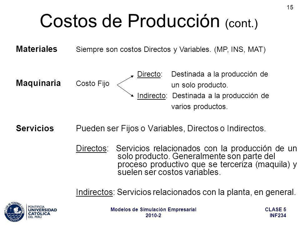 CLASE 5 INF234 Modelos de Simulación Empresarial 2010-2 15 ServiciosPueden ser Fijos o Variables, Directos o Indirectos. Directos: Servicios relaciona