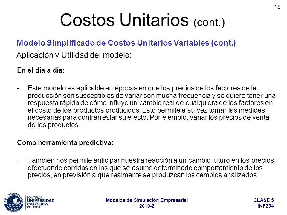 CLASE 5 INF234 Modelos de Simulación Empresarial 2010-2 18 Costos Unitarios (cont.) Aplicación y Utilidad del modelo: En el día a día: -Este modelo es