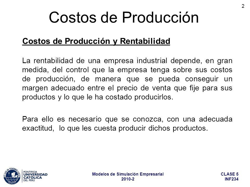 CLASE 5 INF234 Modelos de Simulación Empresarial 2010-2 2 La rentabilidad de una empresa industrial depende, en gran medida, del control que la empres