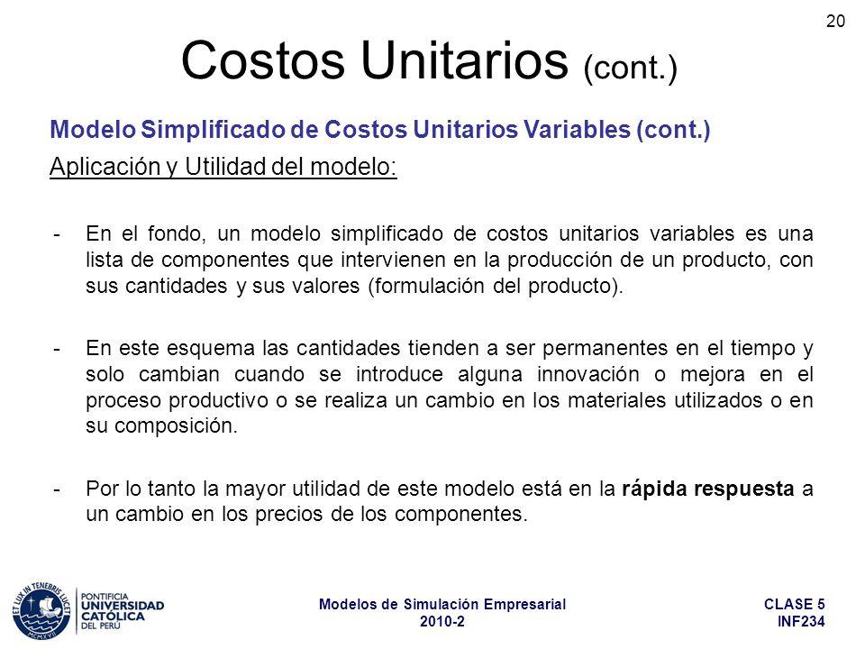 CLASE 5 INF234 Modelos de Simulación Empresarial 2010-2 20 -En el fondo, un modelo simplificado de costos unitarios variables es una lista de componen
