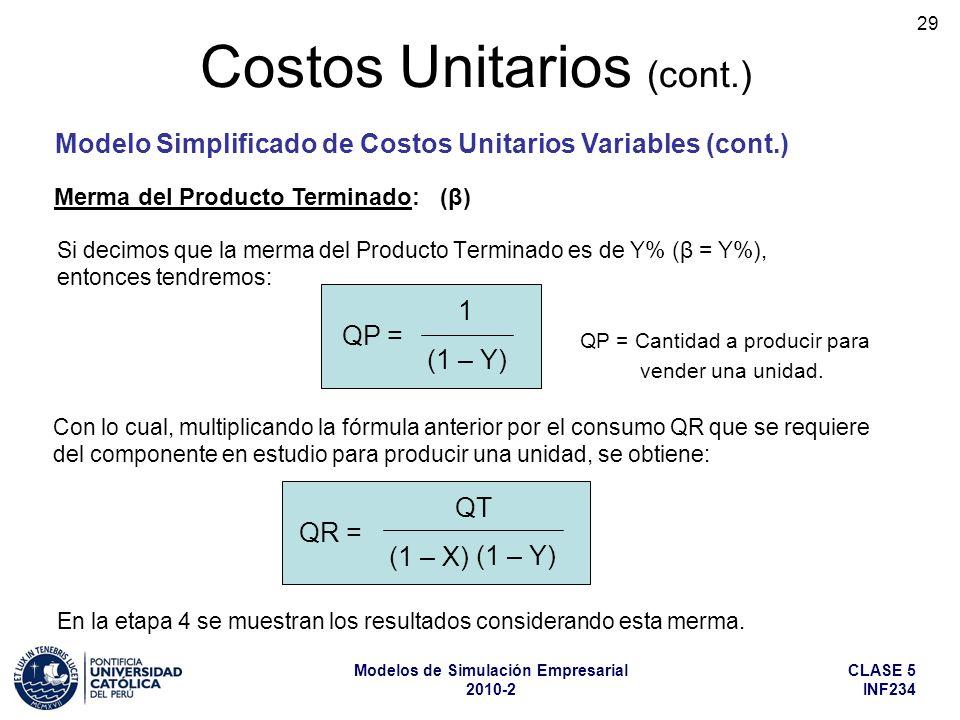 CLASE 5 INF234 Modelos de Simulación Empresarial 2010-2 29 Costos Unitarios (cont.) Si decimos que la merma del Producto Terminado es de Y% (β = Y%),