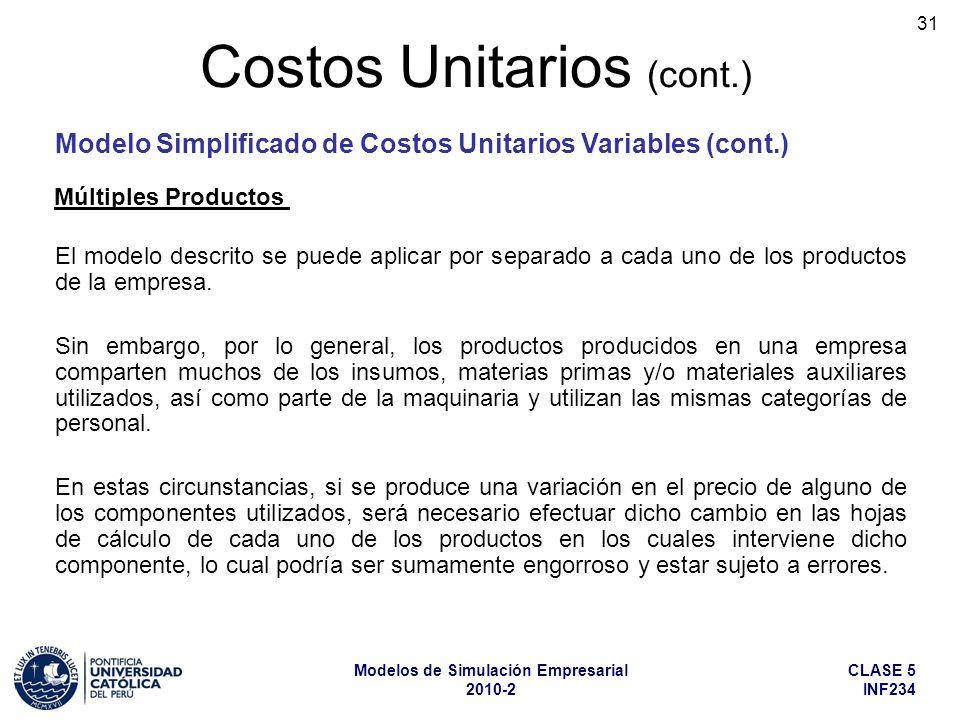 CLASE 5 INF234 Modelos de Simulación Empresarial 2010-2 31 El modelo descrito se puede aplicar por separado a cada uno de los productos de la empresa.