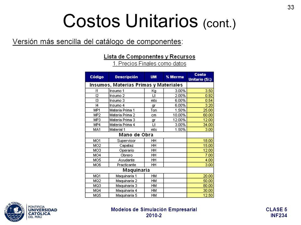 CLASE 5 INF234 Modelos de Simulación Empresarial 2010-2 33 Costos Unitarios (cont.) Versión más sencilla del catálogo de componentes: