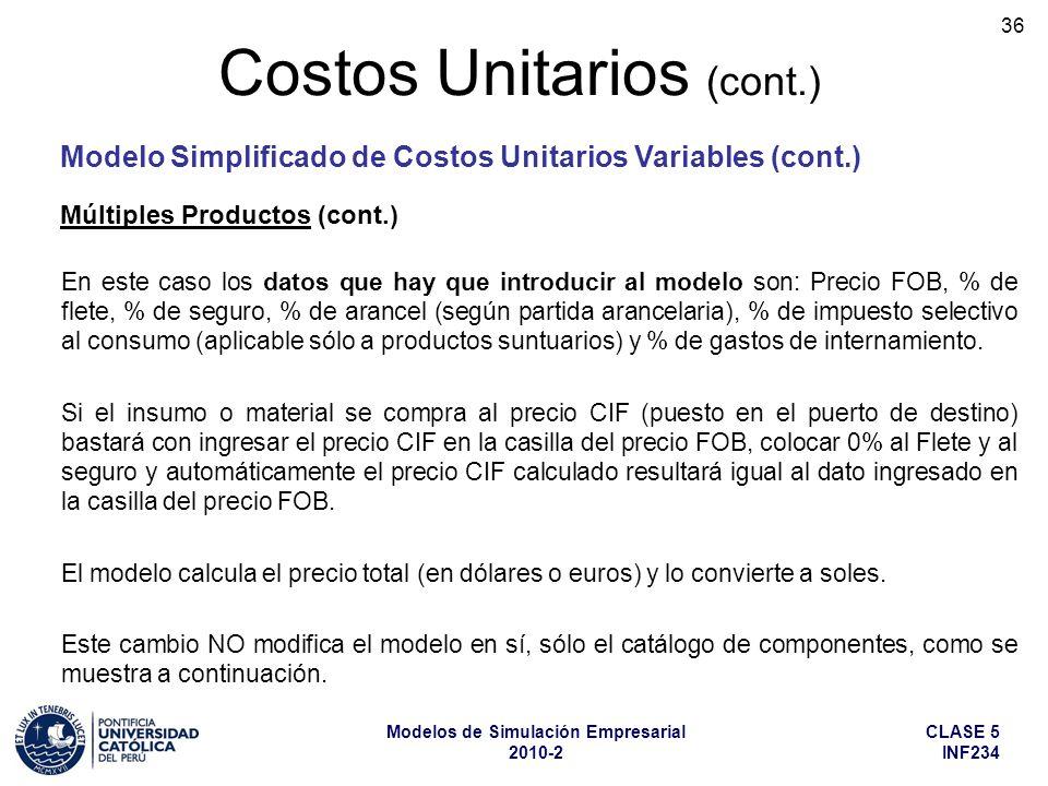 CLASE 5 INF234 Modelos de Simulación Empresarial 2010-2 36 En este caso los datos que hay que introducir al modelo son: Precio FOB, % de flete, % de s