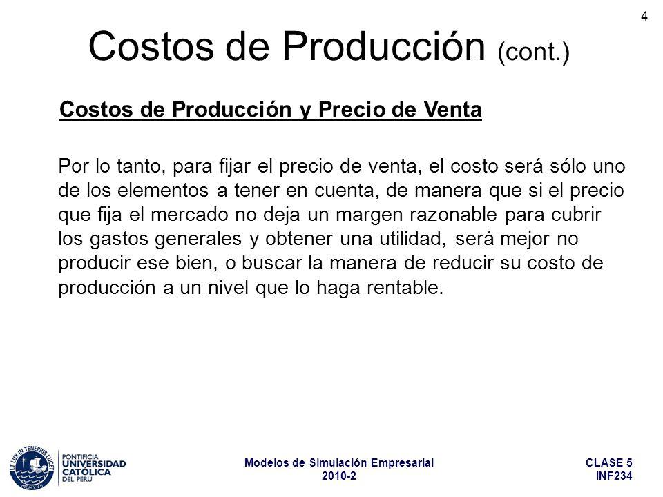 CLASE 5 INF234 Modelos de Simulación Empresarial 2010-2 4 Costos de Producción (cont.) Por lo tanto, para fijar el precio de venta, el costo será sólo