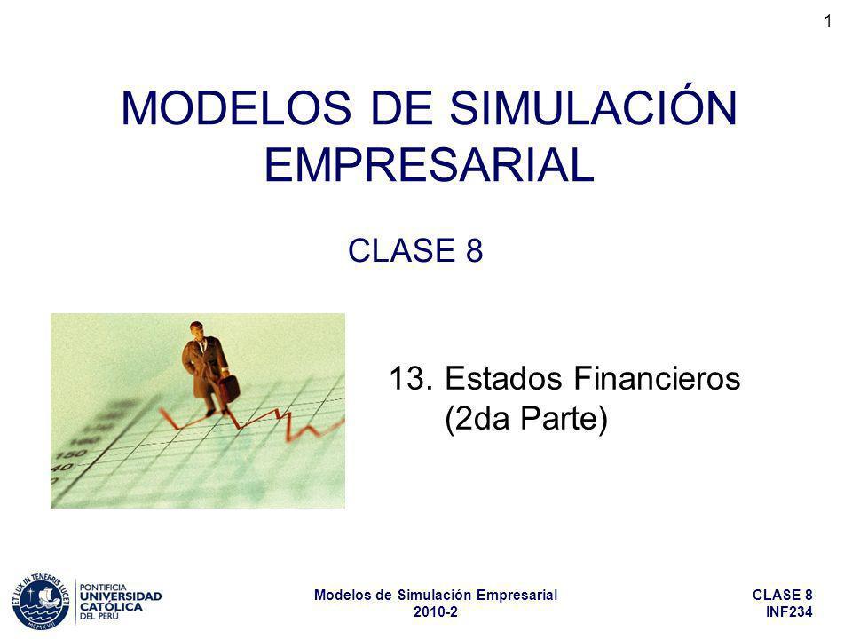 CLASE 8 INF234 Modelos de Simulación Empresarial 2010-2 1 MODELOS DE SIMULACIÓN EMPRESARIAL CLASE 8 13.Estados Financieros (2da Parte)