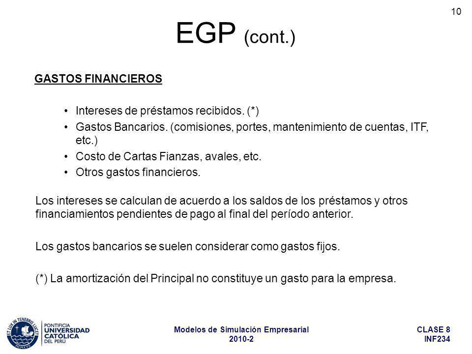 CLASE 8 INF234 Modelos de Simulación Empresarial 2010-2 10 Los intereses se calculan de acuerdo a los saldos de los préstamos y otros financiamientos