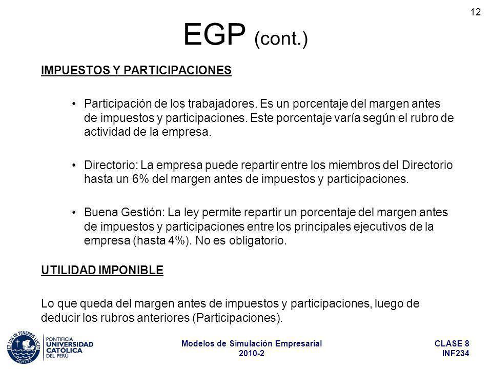 CLASE 8 INF234 Modelos de Simulación Empresarial 2010-2 12 IMPUESTOS Y PARTICIPACIONES Participación de los trabajadores. Es un porcentaje del margen
