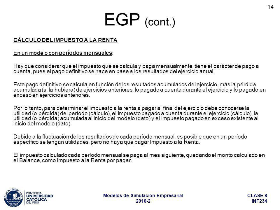 CLASE 8 INF234 Modelos de Simulación Empresarial 2010-2 14 EGP (cont.) CÁLCULO DEL IMPUESTO A LA RENTA En un modelo con períodos mensuales: Hay que co