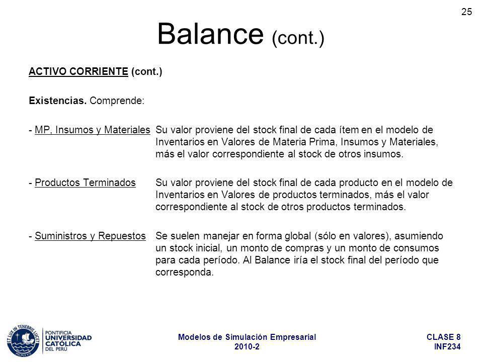CLASE 8 INF234 Modelos de Simulación Empresarial 2010-2 25 ACTIVO CORRIENTE (cont.) Existencias. Comprende: - MP, Insumos y Materiales Su valor provie