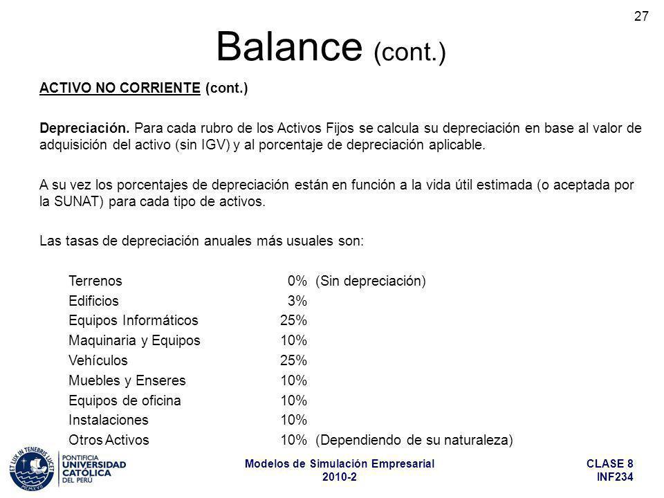 CLASE 8 INF234 Modelos de Simulación Empresarial 2010-2 27 ACTIVO NO CORRIENTE (cont.) Depreciación. Para cada rubro de los Activos Fijos se calcula s