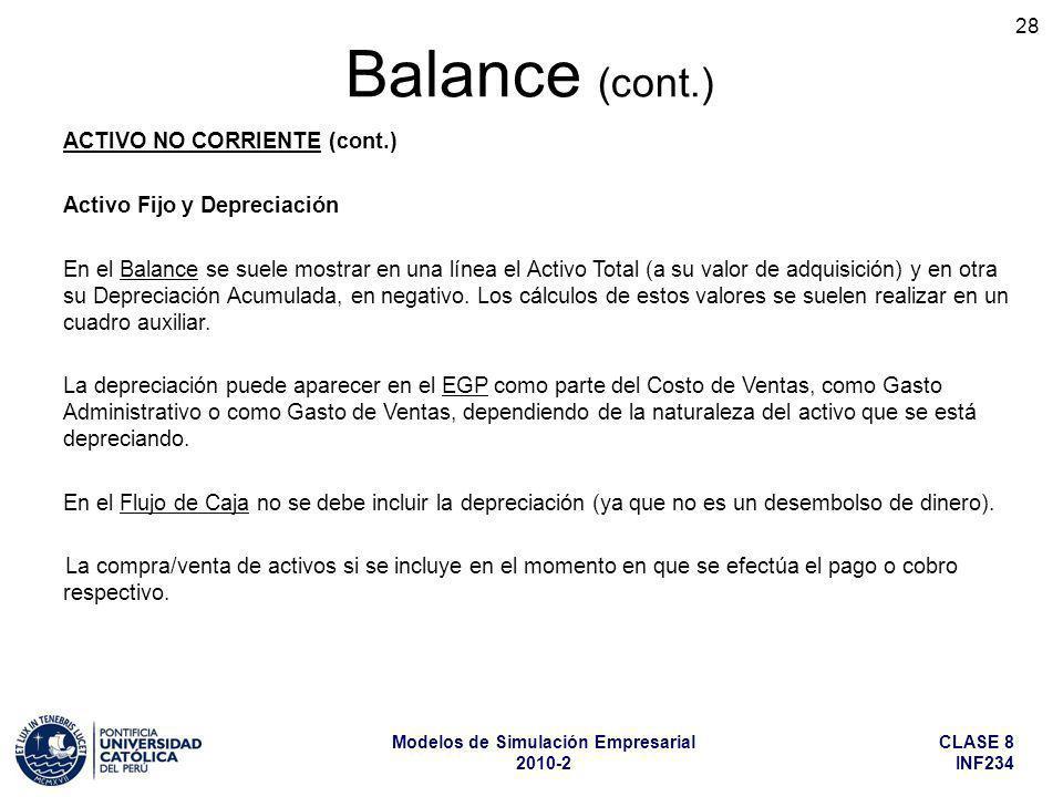 CLASE 8 INF234 Modelos de Simulación Empresarial 2010-2 28 ACTIVO NO CORRIENTE (cont.) Activo Fijo y Depreciación En el Balance se suele mostrar en un