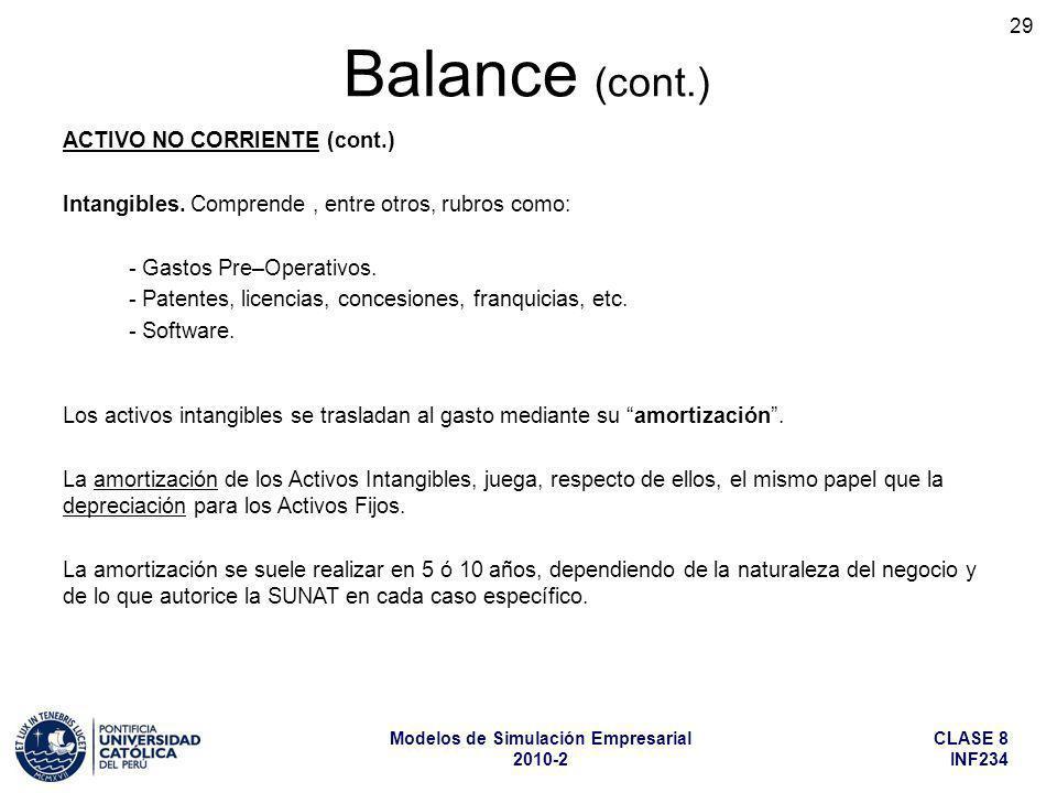 CLASE 8 INF234 Modelos de Simulación Empresarial 2010-2 29 ACTIVO NO CORRIENTE (cont.) Intangibles. Comprende, entre otros, rubros como: - Gastos Pre–