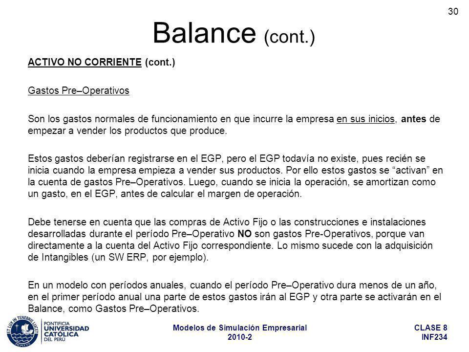 CLASE 8 INF234 Modelos de Simulación Empresarial 2010-2 30 ACTIVO NO CORRIENTE (cont.) Gastos Pre–Operativos Son los gastos normales de funcionamiento