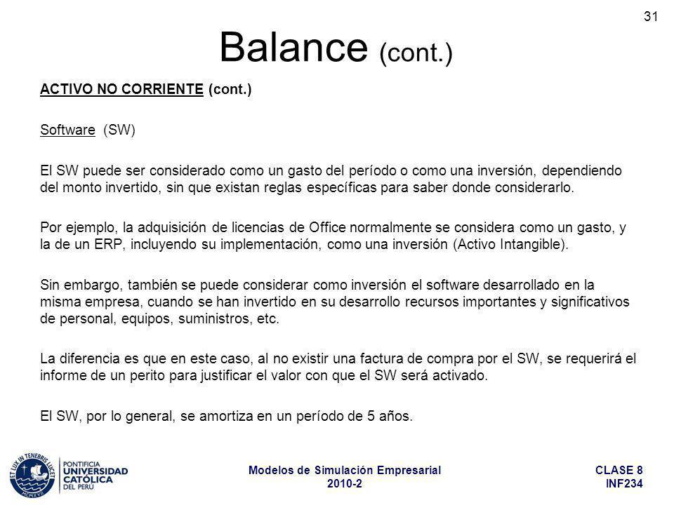 CLASE 8 INF234 Modelos de Simulación Empresarial 2010-2 31 ACTIVO NO CORRIENTE (cont.) Software (SW) El SW puede ser considerado como un gasto del per