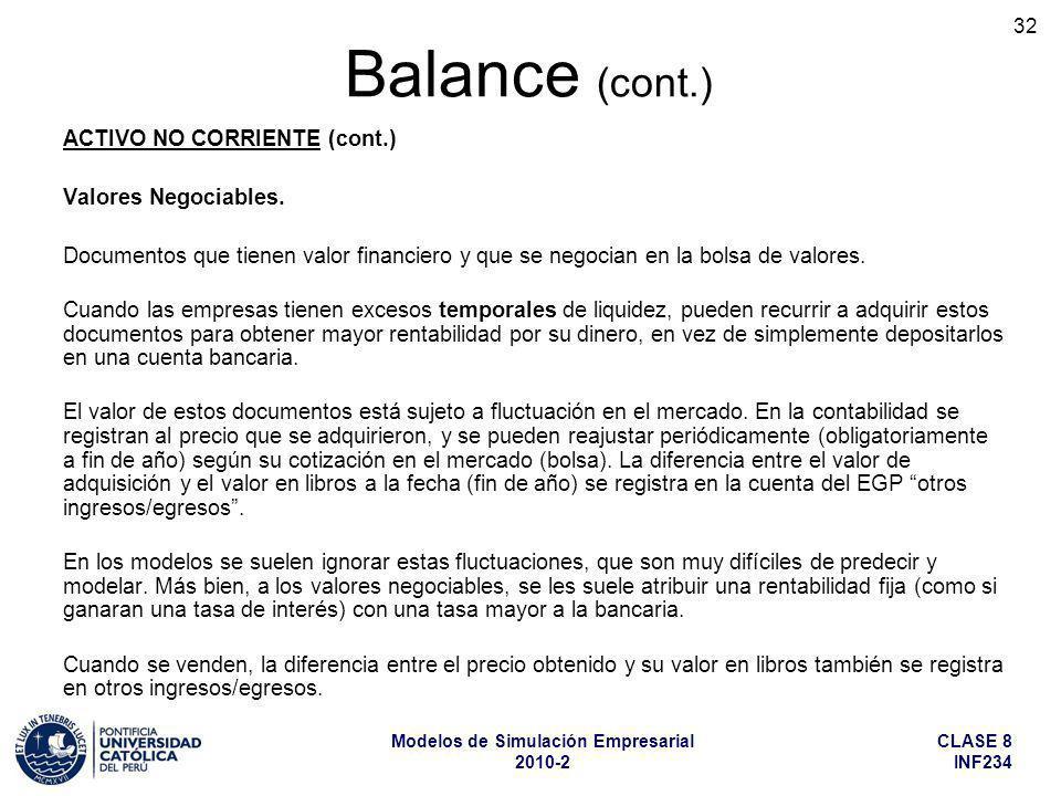CLASE 8 INF234 Modelos de Simulación Empresarial 2010-2 32 ACTIVO NO CORRIENTE (cont.) Valores Negociables. Documentos que tienen valor financiero y q