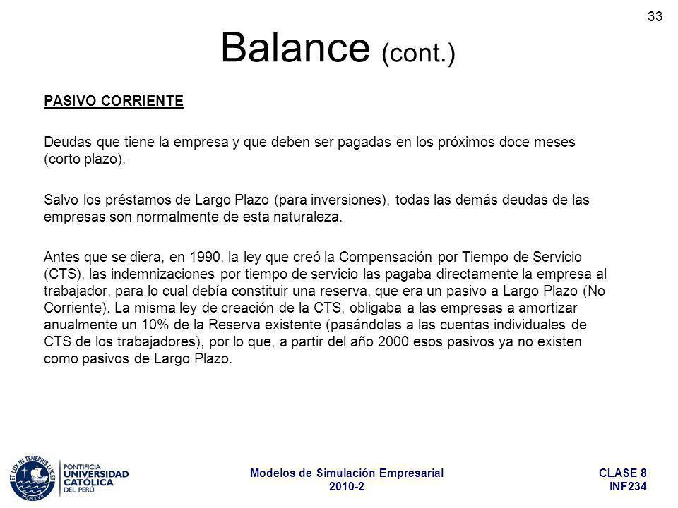 CLASE 8 INF234 Modelos de Simulación Empresarial 2010-2 33 PASIVO CORRIENTE Deudas que tiene la empresa y que deben ser pagadas en los próximos doce m