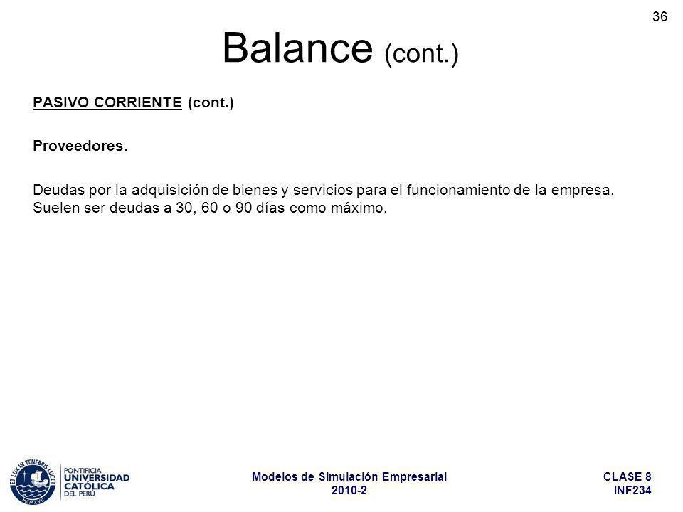 CLASE 8 INF234 Modelos de Simulación Empresarial 2010-2 36 PASIVO CORRIENTE (cont.) Proveedores. Deudas por la adquisición de bienes y servicios para
