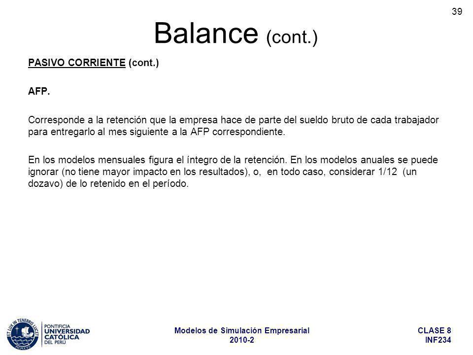 CLASE 8 INF234 Modelos de Simulación Empresarial 2010-2 39 PASIVO CORRIENTE (cont.) AFP. Corresponde a la retención que la empresa hace de parte del s