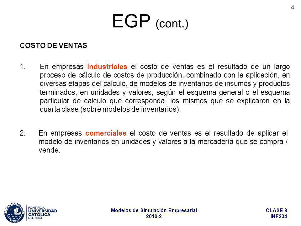 CLASE 8 INF234 Modelos de Simulación Empresarial 2010-2 15 EGP (cont.) CÁLCULO DEL IMPUESTO A LA RENTA Entonces: Al EGP irá el Impuesto Teórico calculado en el mes, que incluye la aplicación de pérdidas de ejercicios anteriores.